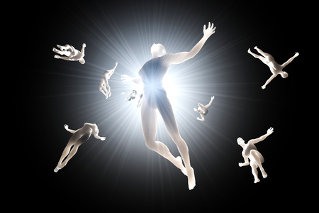 3D rendered illustration of Souls of deceased People streaming into the white light and afterlife of heaven. Stock Photo