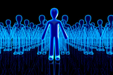 3D rendered Illustration of Followers appearing behind a Avatar icon. Фото со стока