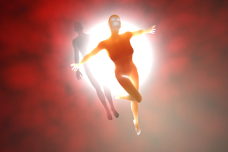 3D rendered illustration of a soul leaving the body upon death.