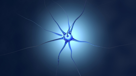 3D Illustration of a neuronal cell in the brain.