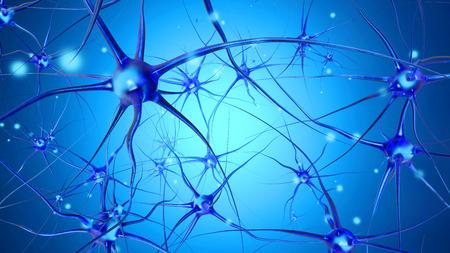 3D rendered Illustration of a biological neural cell network transmitting signals. Banque d'images