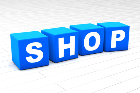 3D rendered illustration of the word Shop. Stock Photo