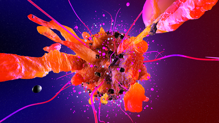 3D rendered Illustration of a aggressively growing Cancer cell spreading in the body.