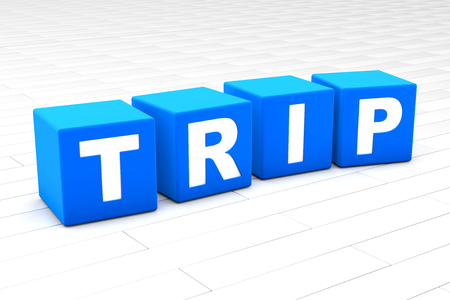 3D rendered illustration of the word Trip.