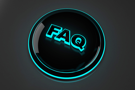 3D rendered illustration of a glowing FAQ button for Frequently asked questions.