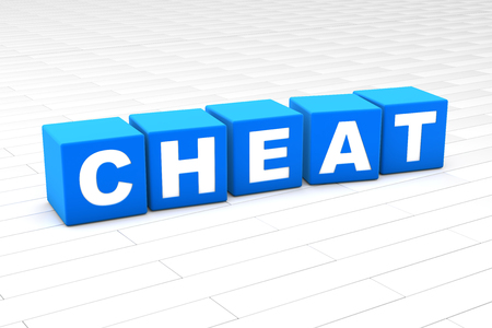 3D rendered illustration of the word Cheat made of cubes.