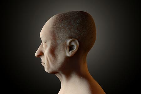 3D rendered Illustration Portrait of a sad old man.