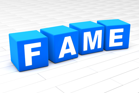 3D rendered illustration of the word Fame made of cubes.