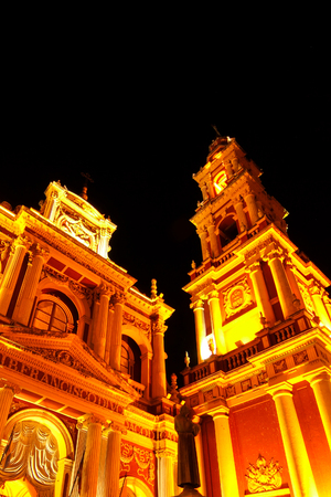 View on the Saint Francis church in Salta, Argentina, South America at night. Stok Fotoğraf