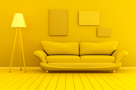 Monochromatic 3D rendered Illustration of a interior with blank picture frames against the wall. Stock Photo