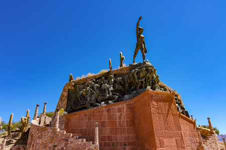 View on the Heroes of Independence statue in Humahuaca, Argentina on a sunny day.