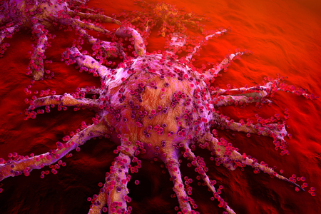 3D rendered Illustration of a growing Cancer cell spreading on healthy Tissue.