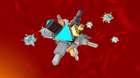 3D rendered Illustration of medical microscopic Nano Bots floating in the human Body .