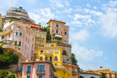 View on the historic architecture in Monte Carlo, Monaco on a sunny day.