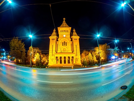 View on the Timisoara Orthodox Cathedral 版權商用圖片