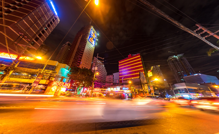 Traffic on the streets of Manila at night