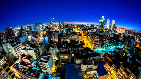 Dusk view on the skyline of the city from a balcony of a high rise apartment in Buenos Aires, Argentina. Banco de Imagens