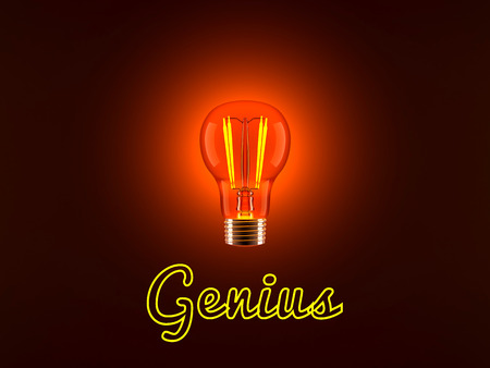 Conceptual 3D rendered illustration of a shining light bulb and the neon lit word Genius.