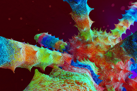 3D rendered Illustration of a Virus floating in the human Body. Stock Photo