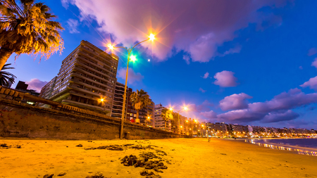 View on the Skyline and the Beach in the neighborhood of Pocitos in Montevideo, Uruguay.