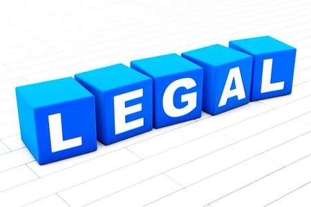 3D rendered illustration of the word Legal. Stock Photo