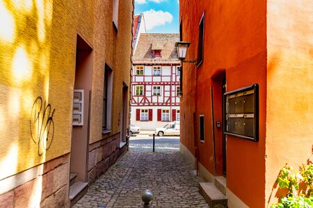 NUREMBERG, GERMANY - CIRCA MAY 2019: View on daily life in the historic centre of the medieval city circa May 2019 in Nuremberg, Germany.