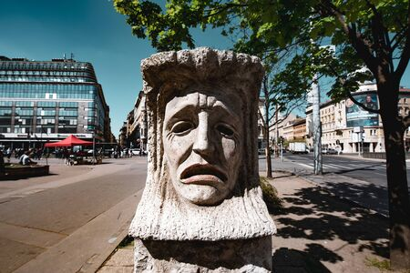 BUDAPEST, HUNGARY - CIRCA APRIL 2019: A ancient Statue remains from a demolished historical Theatre building on the Blaha Lujza Square circa April 2019 in Budapest, Hungary.