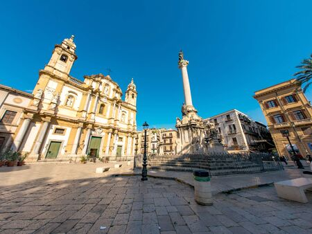 PALERMO, ITALY - CIRCA JUNE 2018: View on the Saint Dominic Church as people pass by front of the historic building on the city centre on a sunny day circa June 2018 in Palermo, Italy.