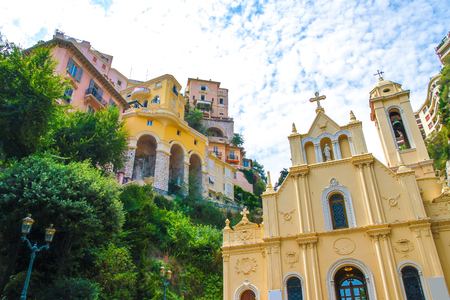 View on a historic church in Monte Carlo, Monaco on a sunny day.