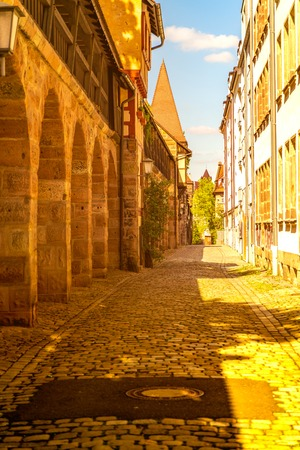 View on historic medieval Architecture in Nuremberg, Germany.
