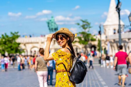 A beautiful young woman discovering the city of Budapest in Hungary during summer. Reklamní fotografie