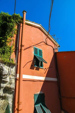 View on the beautiful colourful houses in Cinque Terre, Italy on a sunny day.