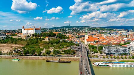 Panoramic view over the city and the river Danube in Bratislava, Slovakia.