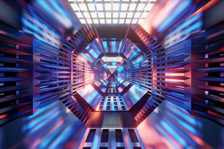 3D rendered illustration of a science fiction architecture tunnel of a spaceship or station.