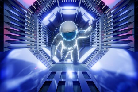 3D rendered illustration of a Astronaut in a science fiction architecture tunnel of a spaceship or station.