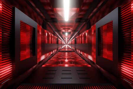 3D Illustration of a dark industrial tunnel.