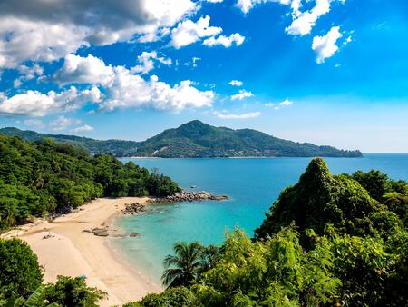 View on an idyllic tropical coast on a sunny day in Thailand.