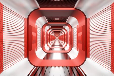 3D illustration of a journey through a Spaceship or industrial hallway.
