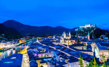 Spectacular panorama view on the historic architecture of the city centre during sunset in Salzburg, Austria.
