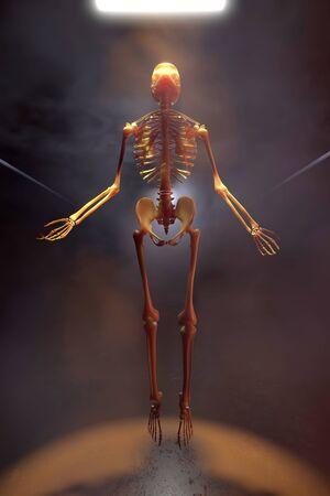 3D Illustration of a Skeleton in a dark industrial environment ascending into the light.. 版權商用圖片