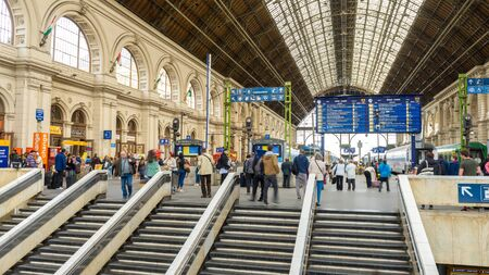 BUDAPEST, HUNGARY - JANUARY 17: View on the interior of the historic international train station as passengers pass by on January 17, 2017 in Budapest, Hungary. Redakční