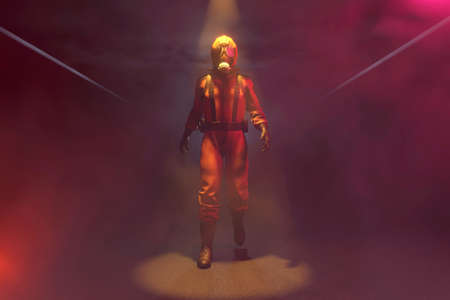 3D Illustration of a worker wearing protective suit against biohazards like a virus or germs or a radioactive environment in a dark, ruined gangway.. Banco de Imagens