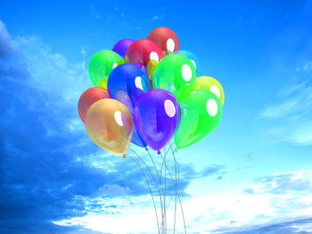 3D Illustration of colorful Ballons rising to the sky.