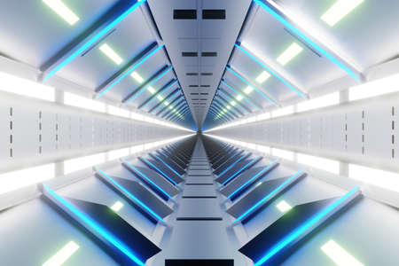 3D Illustration of a Spaceship gangway interior.