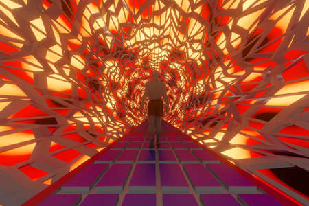 3D Illustration of a man discovering a science fiction fantasy gateway or tunnel of a alien spacecraft.