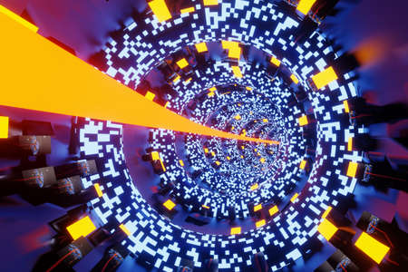 3D Illustration of a journey through a high technology science fiction tunnel. Banque d'images
