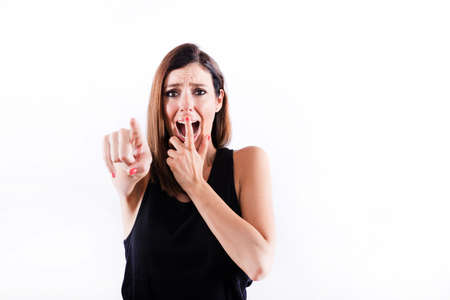 Worried woman pointing