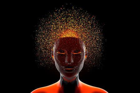 3D illustration of a head dissolving into fragments symbolising either a thinking mind or a artificial intelligence.