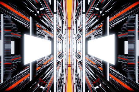 3D Illustration of a science fiction interior corridor, gangway or spaceship hallway.