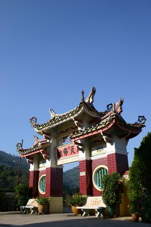 wordings: An archway to a Chinese temple